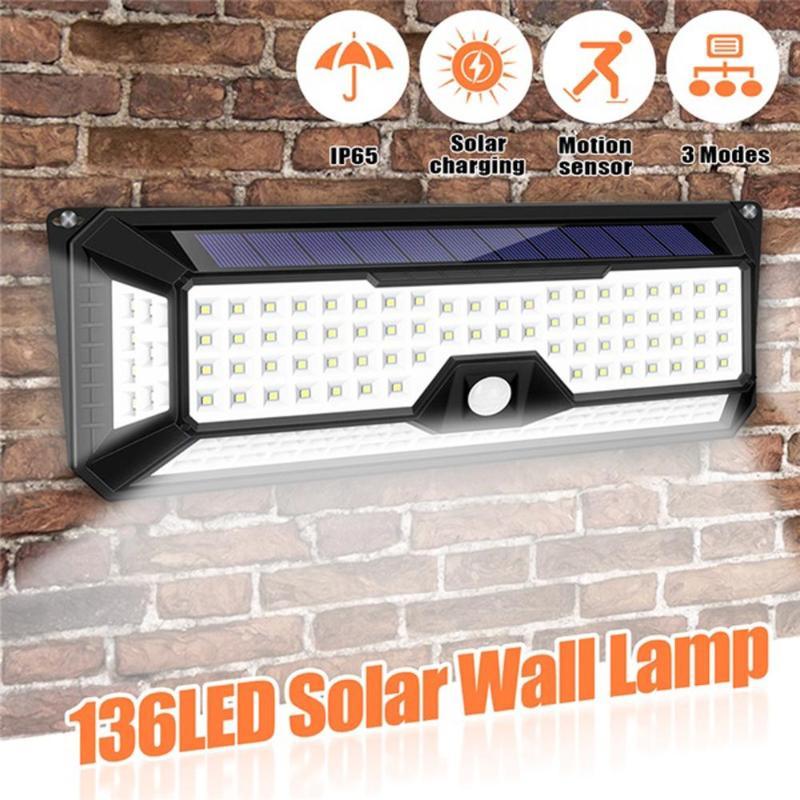 136 LED 1300LM Sensor de luz de jardín Solar impermeable PIR de movimiento al aire libre de la lámpara Solar LED de 3 modos de seguridad piscina puerta Solar iluminación