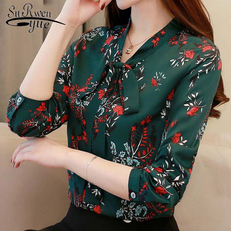 Fashion Women Blouses Spring 2019 Print Green Chiffon Blouse Shirt Office Work Wear Blouse Womens Tops And Blouses Blusa 1780 50