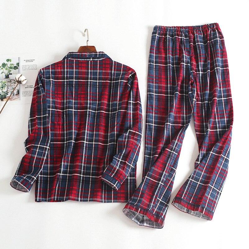Image 2 - Новинка, 100% хлопок, мужской осенне зимний Пижамный костюм с длинными рукавами и брюками, красная фланелевая одежда для сна в клетку, бархатный мягкий комплект одежды-in Пижамные комплекты для мужчин from Нижнее белье и пижамы on AliExpress - 11.11_Double 11_Singles' Day
