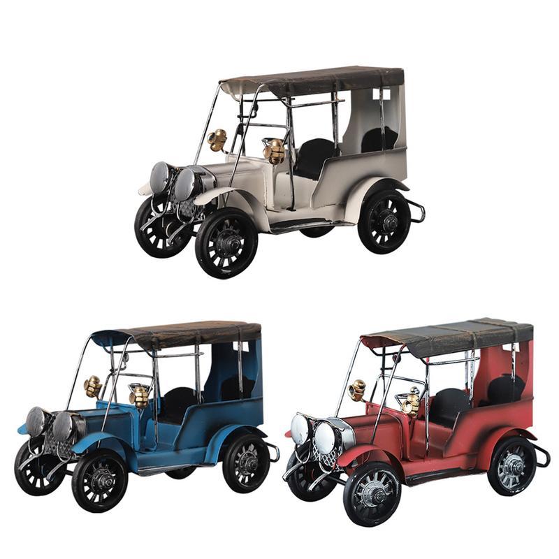 Retro Automobile Toys Nostalgic Metal Crafts Model of Tin-coated Classic Car Iron Art Arrangements for Wine Rack Desktop
