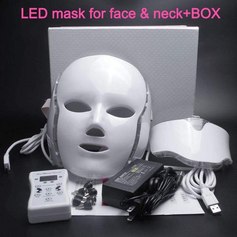 Elektrische FÜHRTE Gesichts Maske 7 Farben Photon mit Hals Haut Verjüngung Anti Akne Falten Schönheit Behandlung Salon Heimgebrauch-in Elektrische Gesichtsreinigungsgeräte aus Haushaltsgeräte bei  Gruppe 1