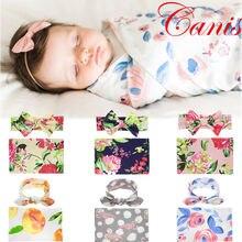 Новые поступления для маленьких девочек с цветочным принтом одеяло повязка на голову обёрточная бумага ткань ping пеленать полотенца