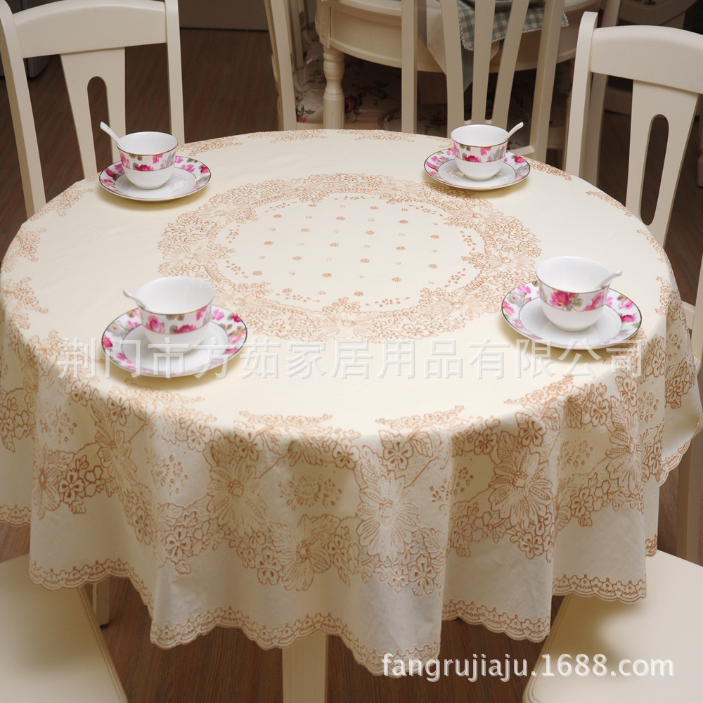 180x180cm Printing lace tablecloth PVC round tablecloth Rural style thickening round table cloth waterproof and oil tablecloth