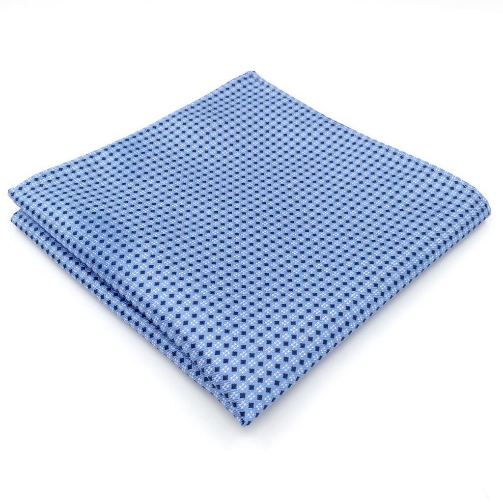 BH06 Business Men's Pocket Square Azure Polka Dots Silk Casual Brand New Handkerchiefs 12.6