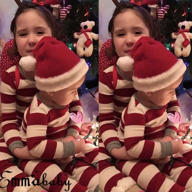 2019 Navidad Rojo Rayas Pijamas Familia Juego Adulto Mameluco