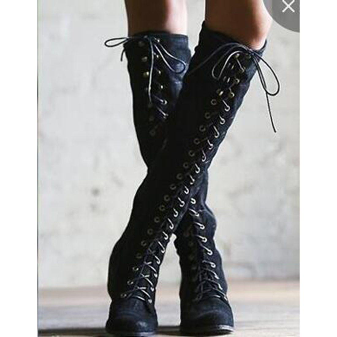 Women Knee High Boots Leather Fashion Lace Up Round Toe Low Heel Women Rivet Motorcycle Boots Big Size