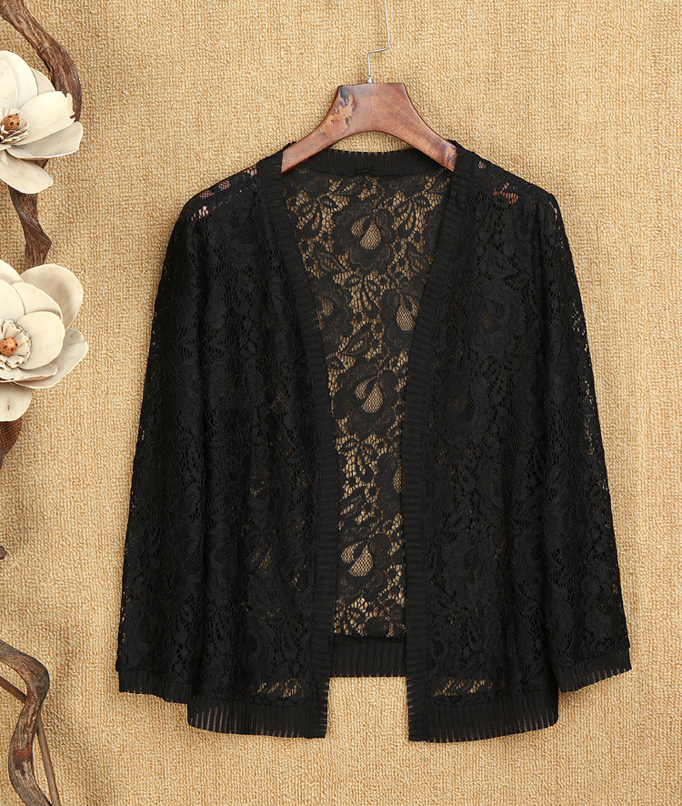 2019 New Fashion Summer Women Hollow Out Lace Blouses Sexy Long Sleeve Cardigan Top Sun Protection Shirt Plus Size 5XL