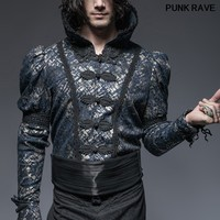 Gothic Palace noble club Waist Covering Button cool Shirt Girdle Punk Classic black Casual Printing men Girdle PUNK RAVE S 174