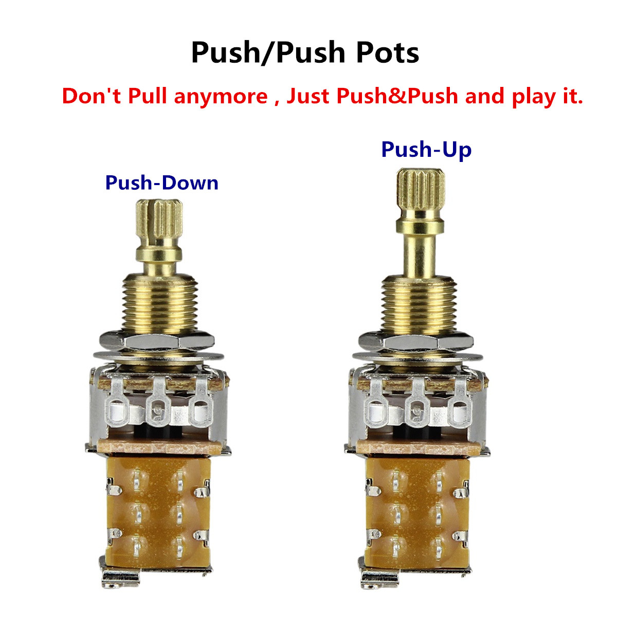 fleor 1pcs guitar potentiometer push push potentiometer a250k b250k a500k b500k copper long split shaft no pull anymore in guitar parts accessories  [ 1200 x 1200 Pixel ]