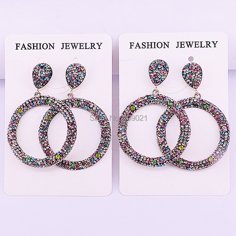 Fashion 4Pairs Handmade Jewelry Pave Rainbow Rhinestone Round Circle Dangle Earrings For Women