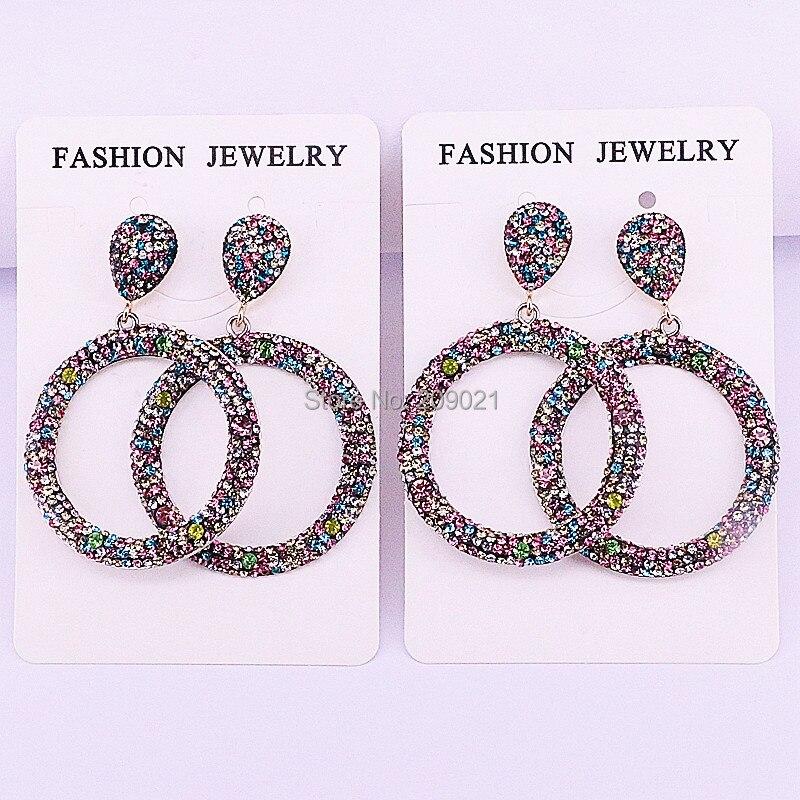 Mode 4 paires bijoux faits à la main Pave arc en ciel strass rond cercle boucles d'oreilles pour les femmes-in Boucles d'oreilles pendantes from Bijoux et Accessoires    1