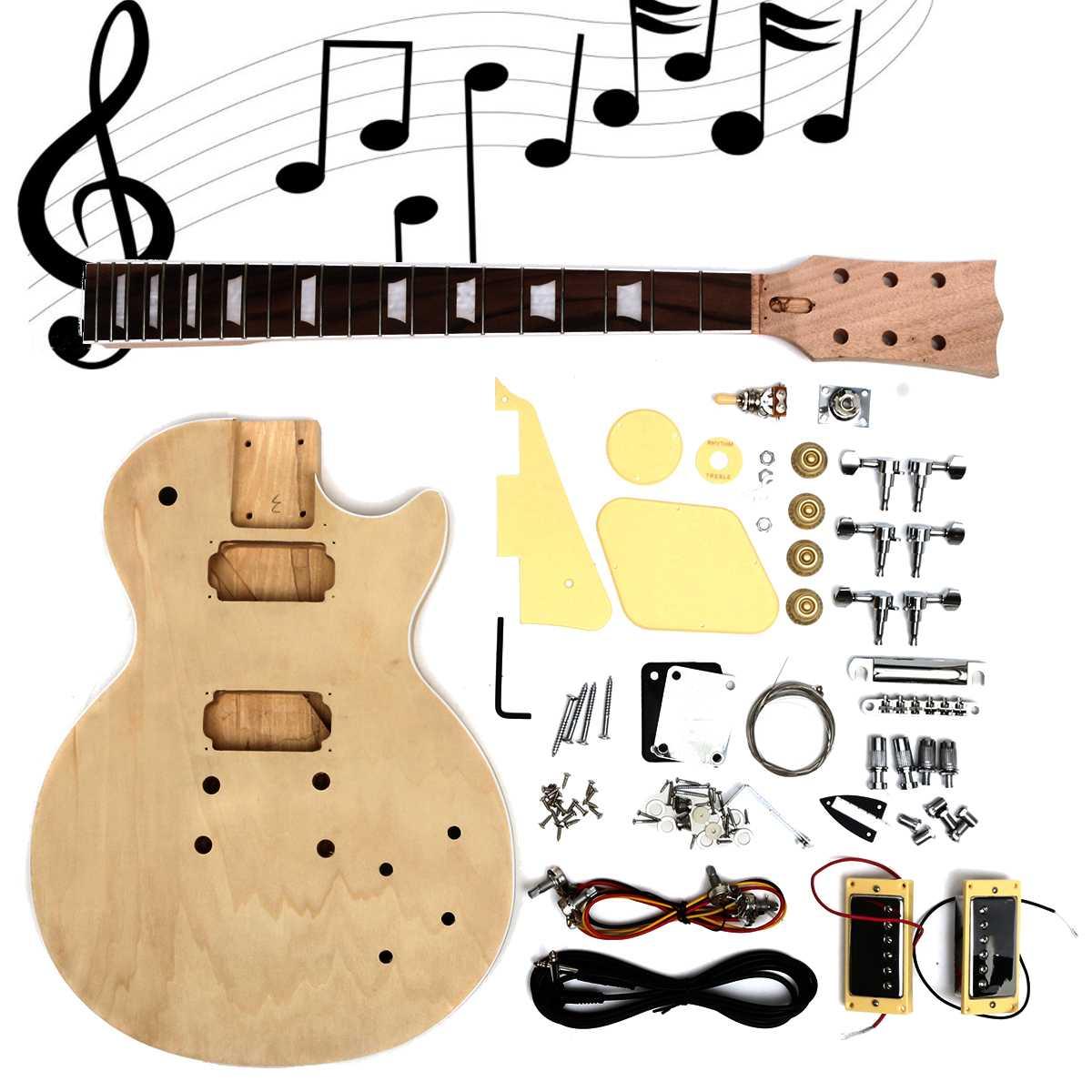 Kit de guitare électrique en bois massif bricolage à la main assembler des pièces de corps et de cou en acajou pour les débutants