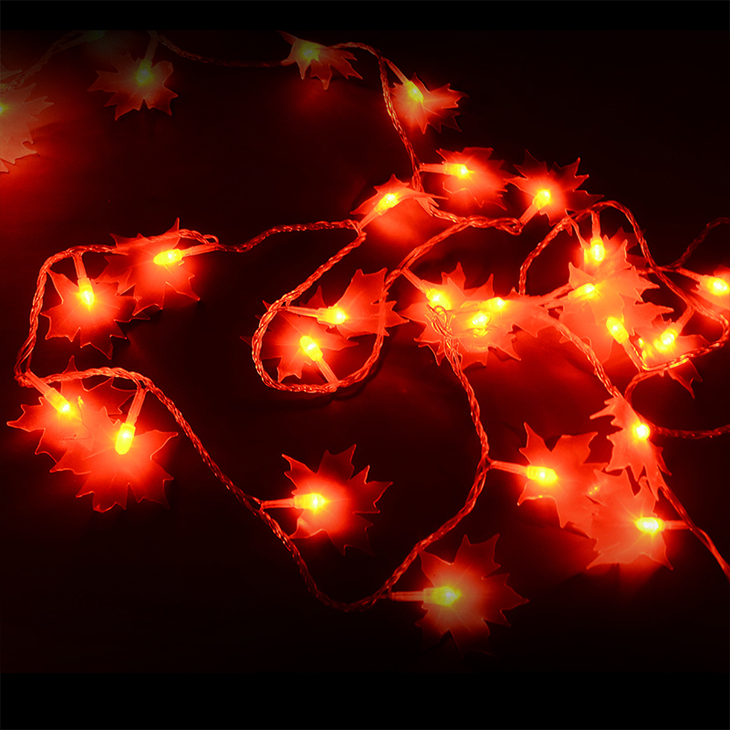 Red Maple leaves LED string lights holiday party lighting christmas tree lights decor outdoor garden decoration waterproof IP46