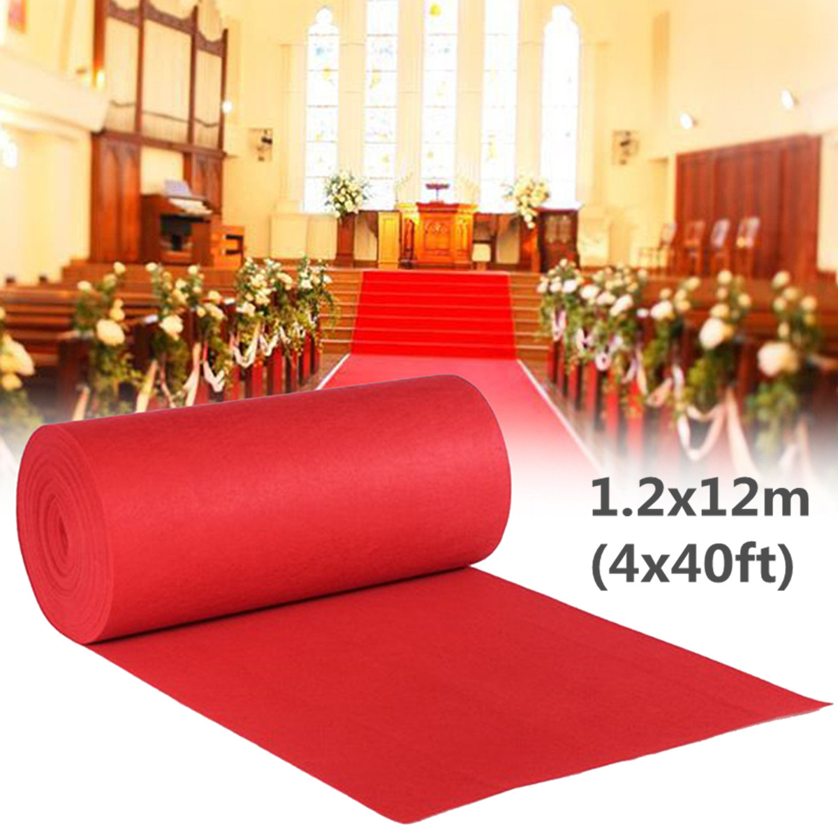 12x1.2m Red Carpet Wedding Aisle Floor Runner Hollywood Birthday Party Wedding Decoration Supplies Accessories 40ftx4ft