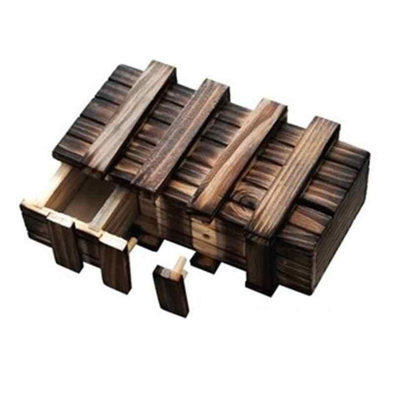 ปริศนาไม้กล่อง Secret ลิ้นชัก Magic ช่อง Teaser สมองไม้ของเล่นปริศนากล่องเด็กของเล่นสำหรับของขวัญเด็ก