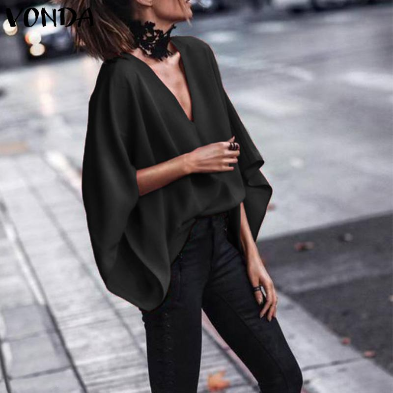 VONDA Women Sexy V Neck Long Batwing Sleeve   Blouse     Shirts   2019 Spring Autumn Tops Casual Loose Blusas OL   Shirt   Plus Size 5XL