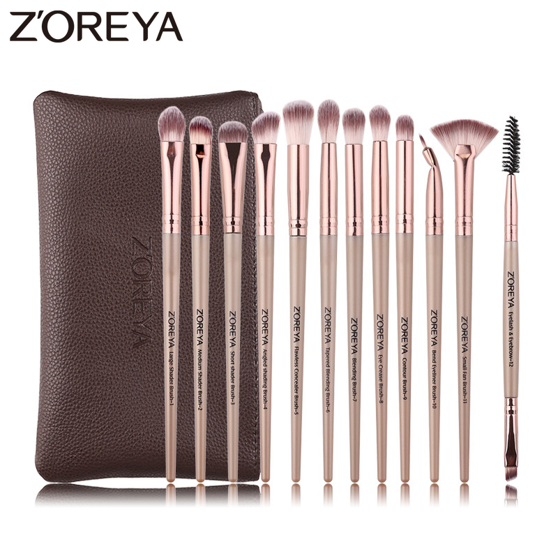 Zoreya Brand 12pcs Essential Eye Makeup Brush Sets Soft Synthetic Hair Blending Eye Shadow Crease Eyeliner Small Fan Brushes eye shadow