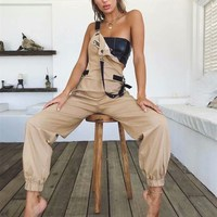 2019 New Sleeveless Strap Harem Jumpsuits Women Fashion Solid High Waist Casual Jumpsuits Summer Long Rompers