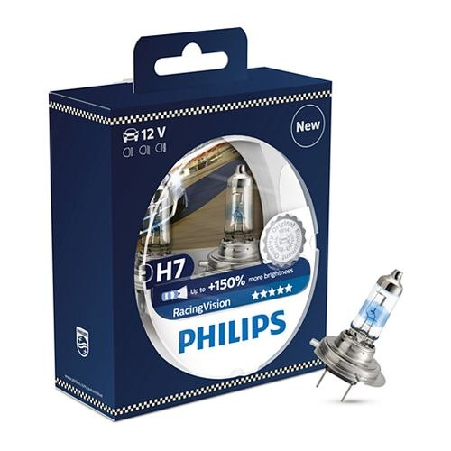 Lamp Philips Racing Vision H7, 12 V-55 W, PX26d, + 150% light (12972RVS2) qook h1 h7 h11 9005 9006 1156 1157 car motorcyle bike vehicle fog headlight bulb head day running light lamp 3528 smd 120 led