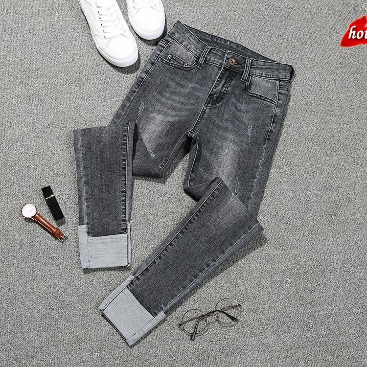 2018 New Fashion   Jeans   Women Slim High Waist Elastic Flanging Skinny Denim Long Pencil Pants Woman   Jeans   Plus Size O8R2