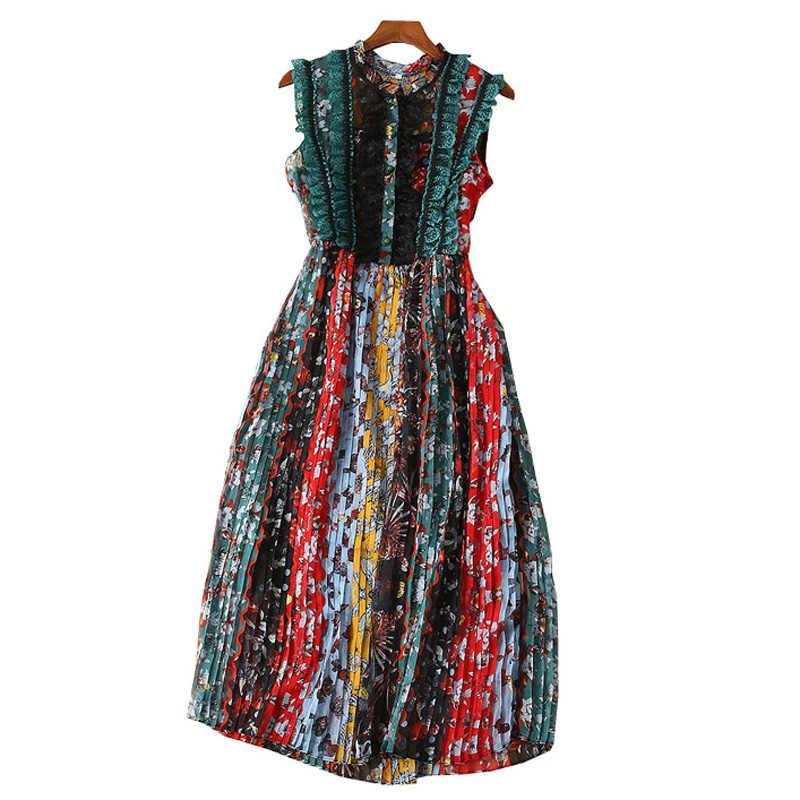 Платья женские летние 2019 повседневные зеленые и черные кружевные оборки с круглым вырезом без рукавов плиссированное платье миди дизайнерское летнее платье с цветочным принтом