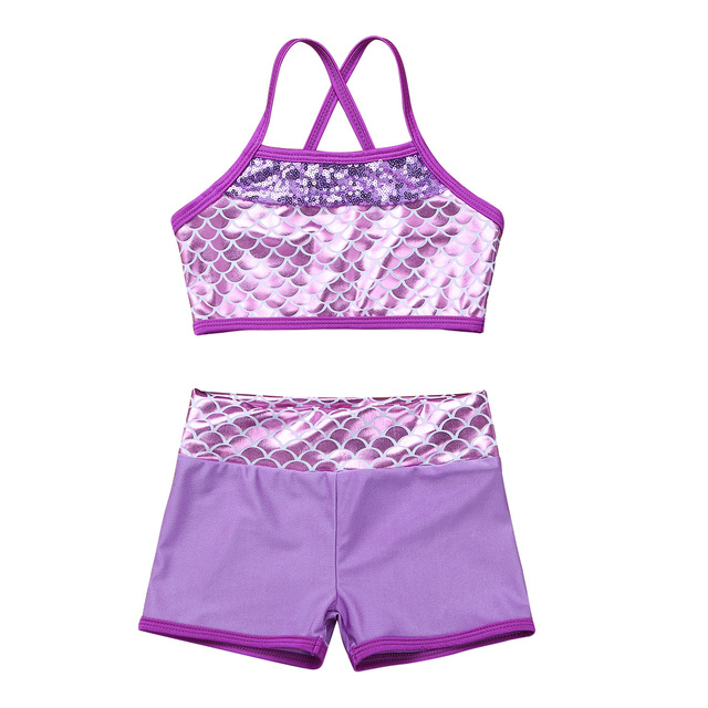 2019 Kids Girls Sequins Mermaid Tankini Swimsuit Bikini Toddler Swimwear Bathing Suit Beachwear Ballet Dance Gym Workout Outfits