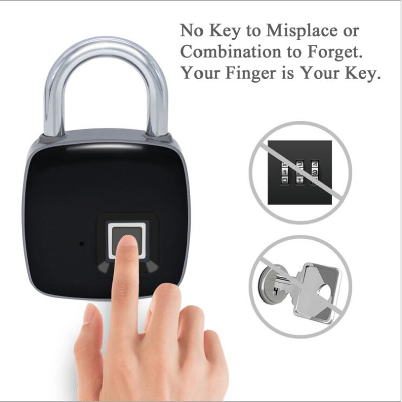 keyless Smart Fingerprint padlock with USB recharge IP65 Waterproof Anti-Theft Security Electric Lock for Door Luggage bag lockkeyless Smart Fingerprint padlock with USB recharge IP65 Waterproof Anti-Theft Security Electric Lock for Door Luggage bag lock