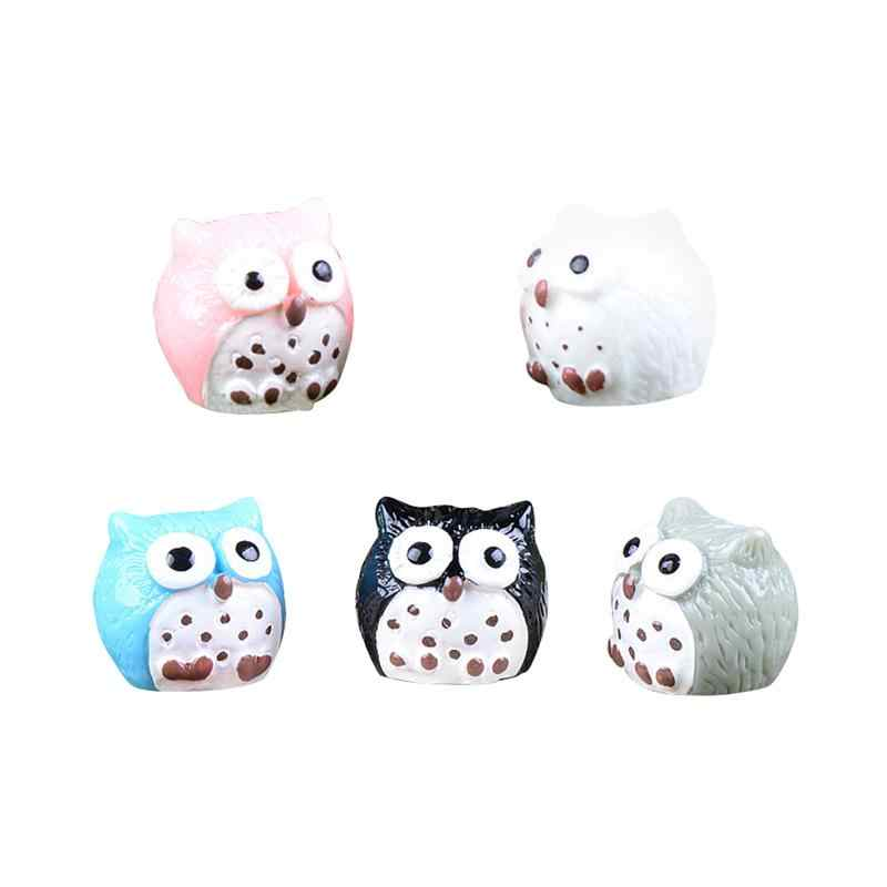 5Pcs Owls Miniature Mini Resin Bonsai Home Garden Micro Landscape Succulent Plant Pots Craft Fairy Decor