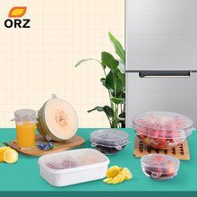 ORZ 6PCS Food Wraps Reusable Silicone Food Fresh Keeping Sealed Covers Silicone Seal Vacuum Stretch Lids Saran Wrap Organization(China)