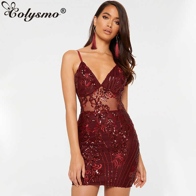 136d6a7e75 Colysmo Sequin Bandage Dress Women Winter Deep V Neck See Through Sexy  Dress Sparkly Christmas Dresses