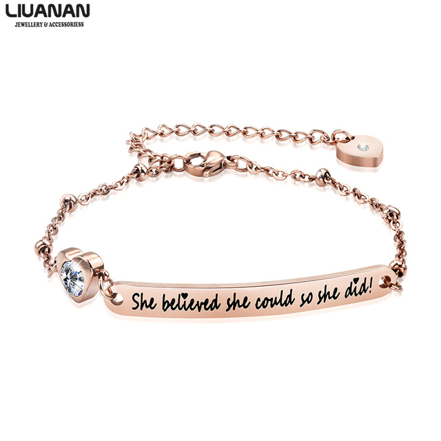 b5cf950f04f Inspirational Jewelry Gifts Rose Gold Bracelets Engraved Bracelet Jewelry