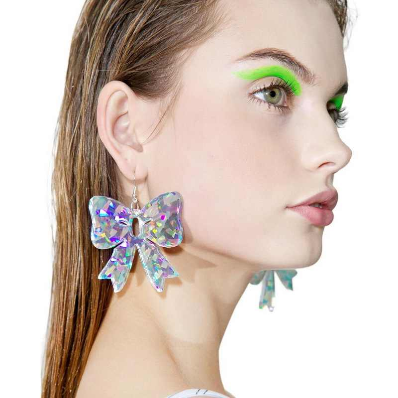 2019 New Night Club Korean Shiny Butterfly Bowknot Acrylic Laser Film Earring Women Pendientes Mujer Moda Kolczyki Big Earrings
