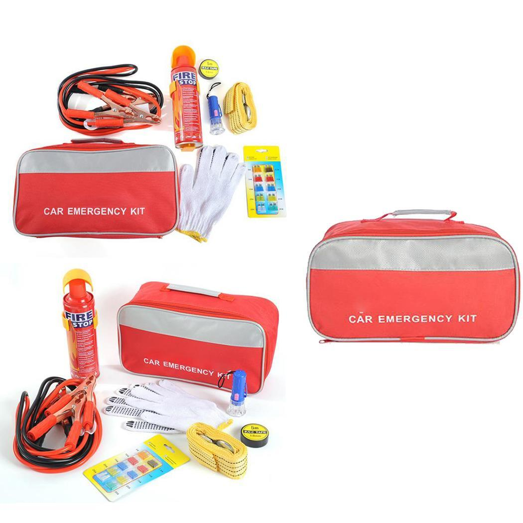 Car Fuse Fire Extinguisher Flashlight and First Zip Aid Suitable for travel outdoor use. Set Emergency Car Kit