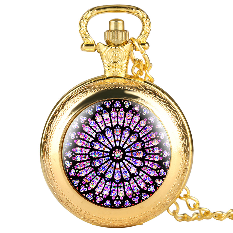 Vintage The Rose Window Quartz Pocket Watch Exquisite Pendant Retro Clock With Retro Necklace Chain Souvenir Gifts For Men Women