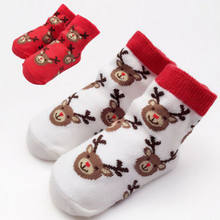 Xmas Adorable Boy Girl Socks Santa Claus Christmas Gift Cartoon Deer Print Winter Infant Christmas Sock(China)