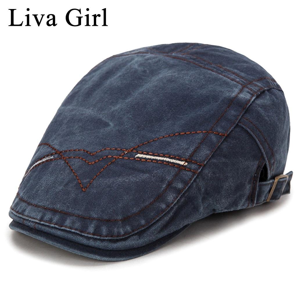 Liva Girl Spring Summer Berets Hats For Men Classic Western Newsboy Caps Washed Denim Ivy Hat Flat Brim Men Beret Duckbill Cap