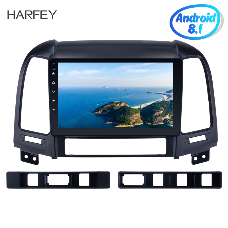 Harfey 9 2din Android 8.1 GPS navigation Car Multimedia Player Radio For HYUNDAI SANTA FE 2005 2012 Head Unit Touchscreen USB