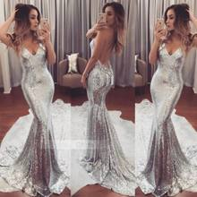 2019 New Fashion Formal Long Dress Women Sequins Silver Dress Prom Evening Gown Ball Party Bridesmaid V Neck Dress Costume(China)