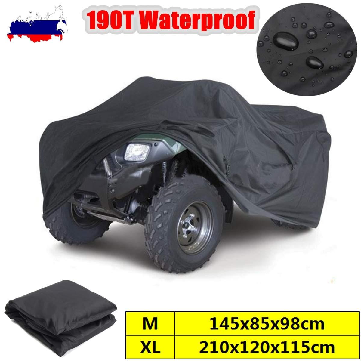 Quad Bike ATV Cover Black M/XL 190T Waterproof Cover Quad ATV Vehicle Scooter Motorbike Universal