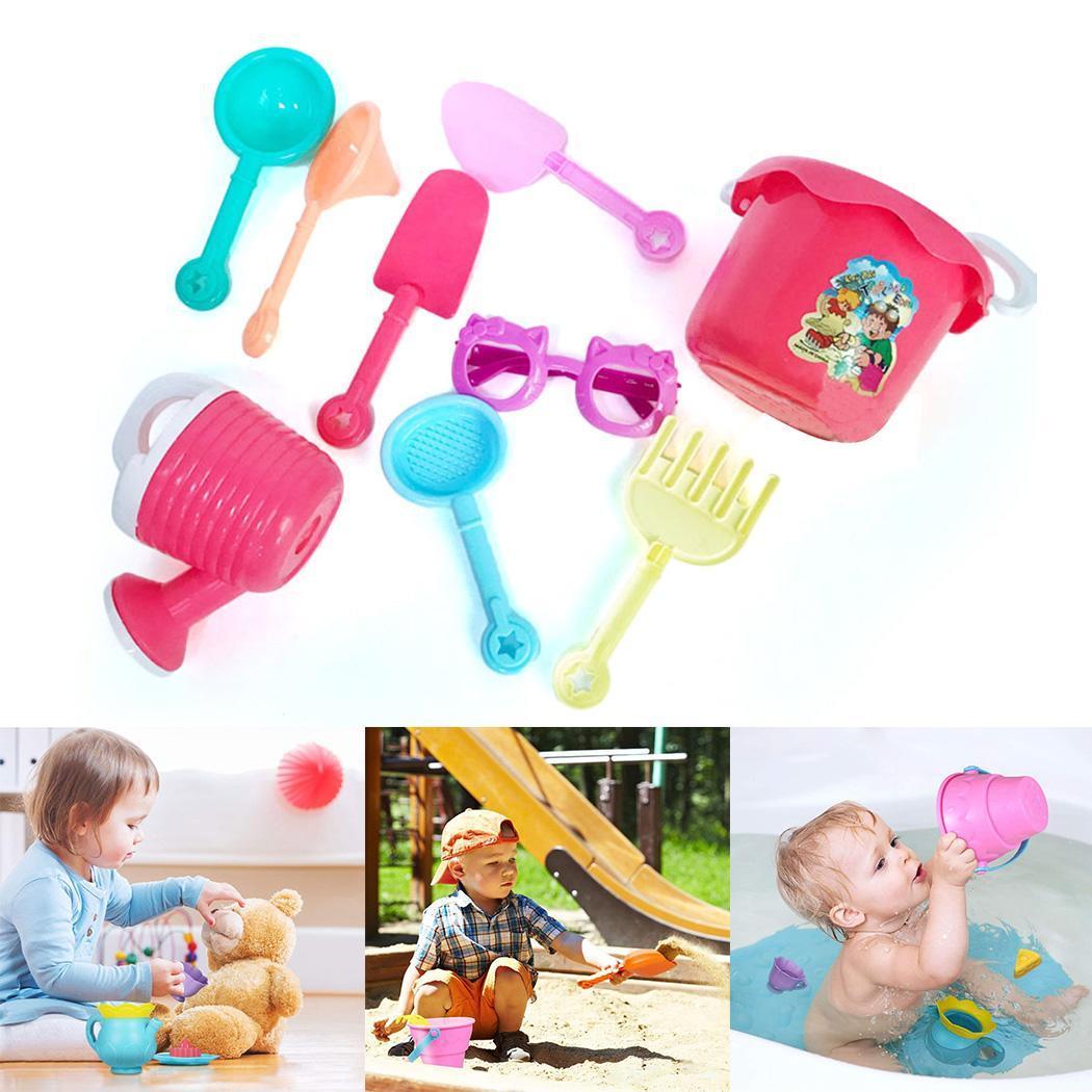 Kids Children Summer Outdoor Bathtub Park Game Kit Beach Sand Multi Toys Set Over 3 Years Old 9Pcs