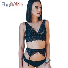 купить E&A Sexy Lingerie Set Women Lingerie Erotic Bra and Panties Belt Set Lace Garter Porno Sleepwear Wire Free Bralette Sex Costumes дешево