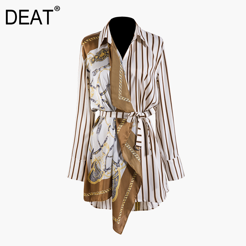 DEAT 219 New Spring Fashion Women Clothing Printing Split Joint Striped Patchwork Shirt BLOUSE Sashes Female Vestido WD85204L