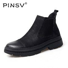 Ботинки «Челси» Зимняя обувь мужская кожаная обувь мужские зимние ботинки черные теплые плюшевые ботильоны мужская обувь размера плюс 38-47 PINSV