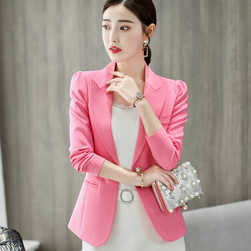 US $13.87 25% OFF|New Spring Women Elegant Blazer Candy Color Solid Long Sleeve Outerwear Notched With Pocket Office Ladies Casual Blazers in Blazers