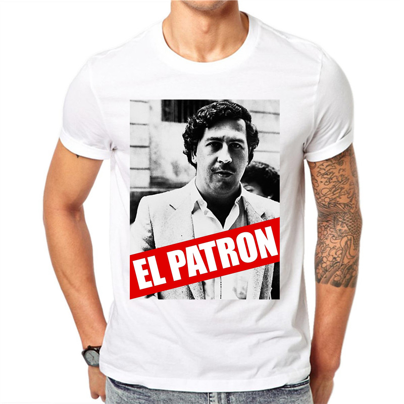 S-XXXL 2018 Pablo Escobar Print   T     shirt   For Men Brand Narcos Funny Man Tshirt White Short Sleeve Summer Top Tees Hipster