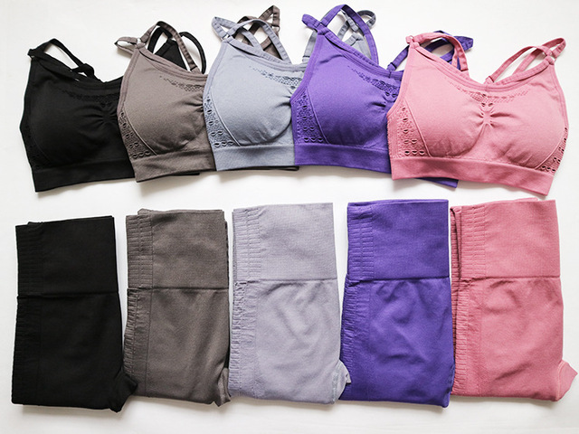 Seamless Leggings+Strappy Bra 2Pcs Yoga Set Women Gym Fitness Clothing High Waist Yoga sport Leggings Set Running Sportswear