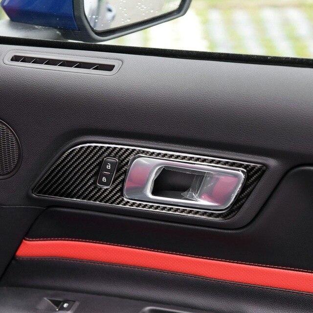 لفورد موستانج 2015 2016 2017 2 قطعة ألياف الكربون سيارة الداخلية باب باب دخول بلوح صلب السلطانية غطاء ديكور
