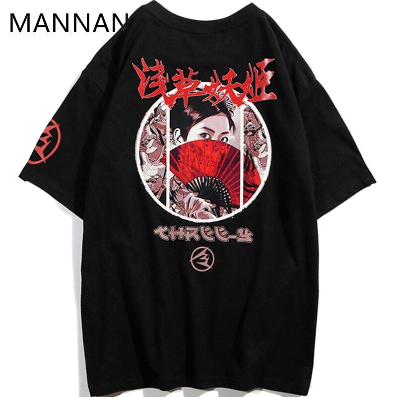 fc2a92fa1992 MANNAN Harajuku Ukiyo E Geisha Tshirt Men men tshirt homme harajuku modis  Summer Japanese Hip Hop