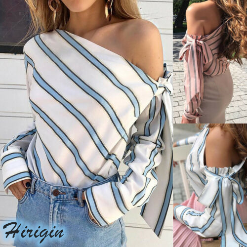 Summer Blouses 2019 New Casual Summer Women Striped Long Sleeve Skew Collar Single Shoulder Bowknot Chiffon Tops in Blouses amp Shirts from Women 39 s Clothing