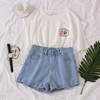 Denim Short Set Student Casual Two Piece Set 2019 Solid Avocado T shirt + High Waist Jeans Shorts Fashion Summer Set